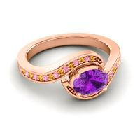 Bypass Oval Pave Phala Amethyst Ring with Pink Tourmaline and Citrine in 14K Rose Gold