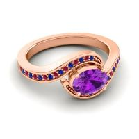 Bypass Oval Pave Phala Amethyst Ring with Ruby and Blue Sapphire in 18K Rose Gold