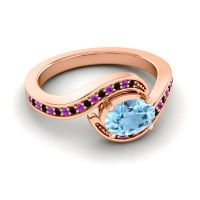Bypass Oval Pave Phala Aquamarine Ring with Amethyst and Black Onyx in 14K Rose Gold