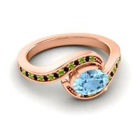 Bypass Oval Pave Phala Aquamarine Ring with Black Onyx and Peridot in 14K Rose Gold