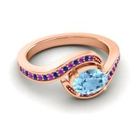 Bypass Oval Pave Phala Aquamarine Ring with Blue Sapphire and Amethyst in 14K Rose Gold
