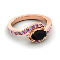Bypass Oval Pave Phala Black Onyx Ring with Amethyst and Swiss Blue Topaz in 14K Rose Gold