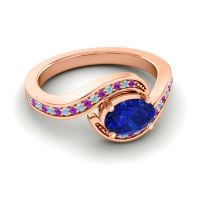 Bypass Oval Pave Phala Blue Sapphire Ring with Aquamarine and Amethyst in 18K Rose Gold