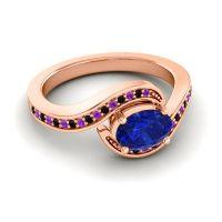 Bypass Oval Pave Phala Blue Sapphire Ring with Black Onyx and Amethyst in 18K Rose Gold