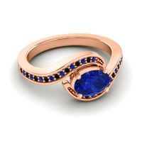 Bypass Oval Pave Phala Blue Sapphire Ring with Black Onyx in 18K Rose Gold