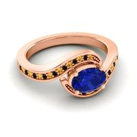 Bypass Oval Pave Phala Blue Sapphire Ring with Black Onyx and Citrine in 18K Rose Gold