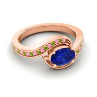 Bypass Oval Pave Phala Blue Sapphire Ring with Peridot and Pink Tourmaline in 14K Rose Gold