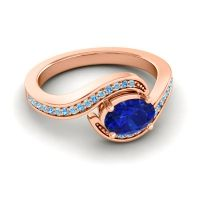 Bypass Oval Pave Phala Blue Sapphire Ring with Swiss Blue Topaz and Aquamarine in 14K Rose Gold