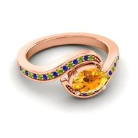 Bypass Oval Pave Phala Citrine Ring with Blue Sapphire and Peridot in 18K Rose Gold