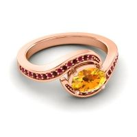 Bypass Oval Pave Phala Citrine Ring with Garnet and Ruby in 18K Rose Gold