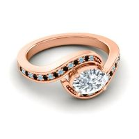 Bypass Oval Pave Phala Diamond Ring with Black Onyx and Aquamarine in 18K Rose Gold
