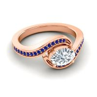 Bypass Oval Pave Phala Diamond Ring with Blue Sapphire in 14K Rose Gold
