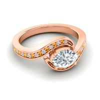 Bypass Oval Pave Phala Diamond Ring with Citrine in 14K Rose Gold