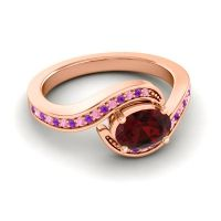 Bypass Oval Pave Phala Garnet Ring with Amethyst and Pink Tourmaline in 14K Rose Gold