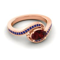 Bypass Oval Pave Phala Garnet Ring with Blue Sapphire in 18K Rose Gold