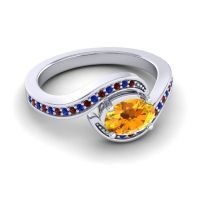 Bypass Oval Pave Phala Citrine Ring with Blue Sapphire and Garnet in Platinum