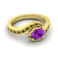 Bypass Oval Pave Phala Amethyst Ring with Garnet and Peridot in 18k Yellow Gold