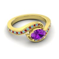 Bypass Oval Pave Phala Amethyst Ring with Swiss Blue Topaz and Ruby in 18k Yellow Gold