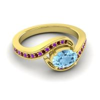 Bypass Oval Pave Phala Aquamarine Ring with Amethyst and Garnet in 18k Yellow Gold