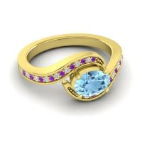Bypass Oval Pave Phala Aquamarine Ring with Diamond and Amethyst in 18k Yellow Gold