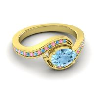 Bypass Oval Pave Phala Aquamarine Ring with Pink Tourmaline and Swiss Blue Topaz in 18k Yellow Gold