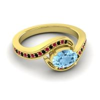 Bypass Oval Pave Phala Aquamarine Ring with Ruby and Black Onyx in 18k Yellow Gold