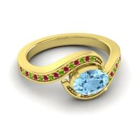Bypass Oval Pave Phala Aquamarine Ring with Ruby and Peridot in 18k Yellow Gold