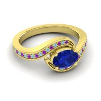 Bypass Oval Pave Phala Blue Sapphire Ring with Aquamarine and Amethyst in 18k Yellow Gold