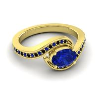 Bypass Oval Pave Phala Blue Sapphire Ring with Black Onyx in 18k Yellow Gold