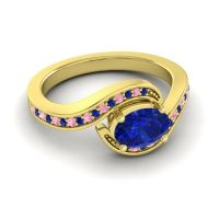 Bypass Oval Pave Phala Blue Sapphire Ring with Pink Tourmaline in 18k Yellow Gold