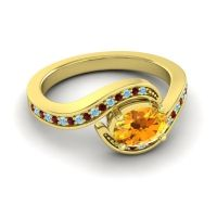 Bypass Oval Pave Phala Citrine Ring with Garnet and Aquamarine in 14k Yellow Gold