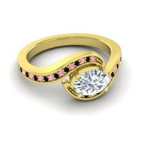 Bypass Oval Pave Phala Diamond Ring with Black Onyx and Pink Tourmaline in 14k Yellow Gold