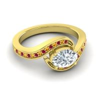 Bypass Oval Pave Phala Diamond Ring with Citrine and Ruby in 14k Yellow Gold