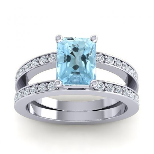 Emerald Cut Yamala Aquamarine Ring with Diamond in 14k White Gold