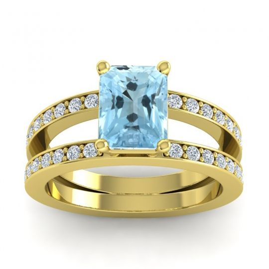 Aquamarine Emerald Cut Yamala Ring with Diamond in 14k Yellow Gold