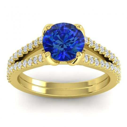 Cathedral Pave Mustika Blue Sapphire Ring with Diamond in 18k Yellow Gold
