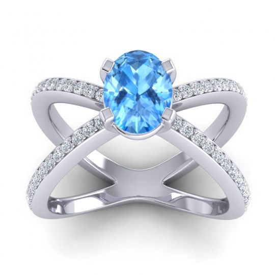 Modern Oval Pave Tara Swiss Blue Topaz Ring with Diamond in 14k White Gold