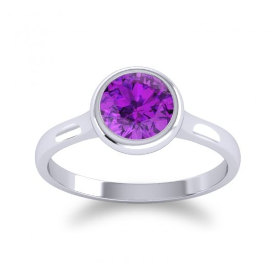 Amethyst Bezel Solitaire Sarala Ring in 14k White Gold