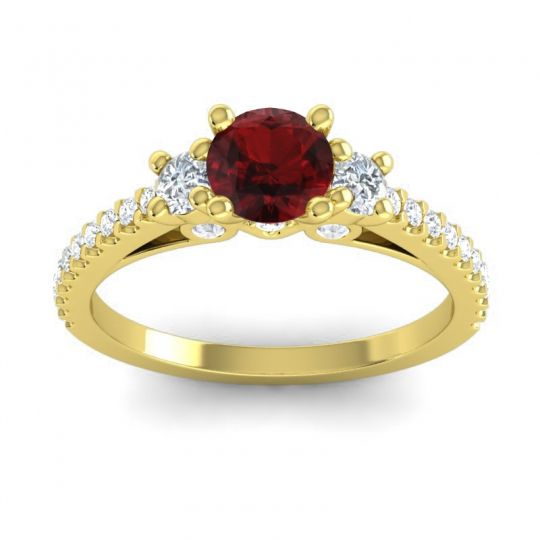 Ornate Three Stone Navan Garnet Ring with Diamond in 14k Yellow Gold