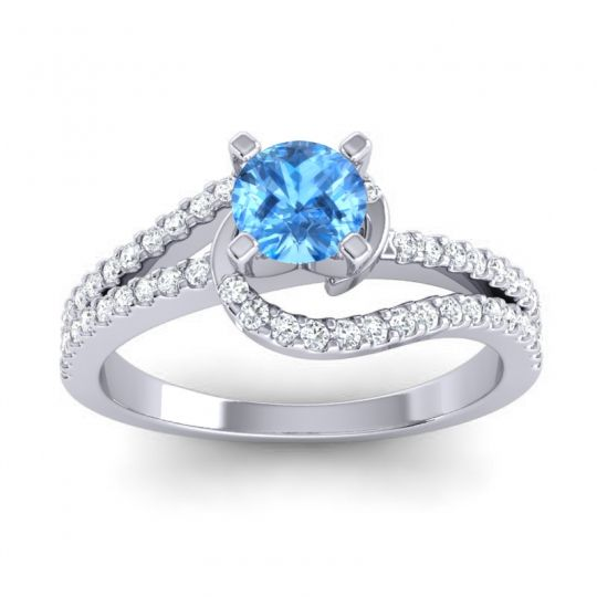 Swiss Blue Topaz Bypass Pave Avarta Ring with Diamond in 14k White Gold