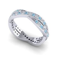 Aquamarine Modern Vali Band with Diamond in 18k White Gold