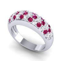 Ruby Half Eternity Naga Band with Diamond in 14k White Gold