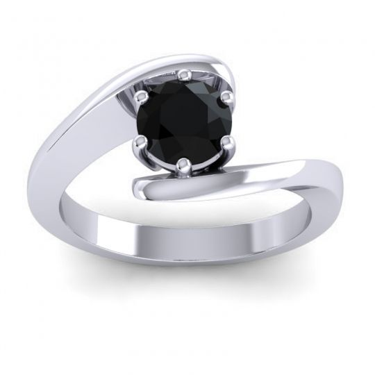 Black Onyx Bypass Solitaire Pavana Ring in 14k White Gold