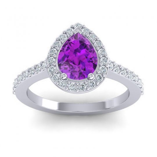 Pear Shape Halo Leta Amethyst Ring with Diamond in 14k White Gold