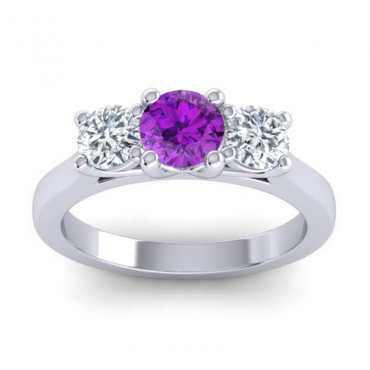 Amethyst Three Stone Nala Ring with Diamond in 14k White Gold