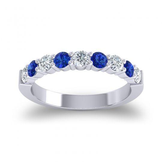 Blue Sapphire Half Eternity Kamsa Band with Diamond in 14k White Gold