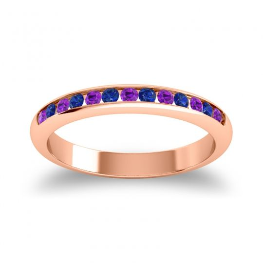 Half Eternity Ceda Amethyst Band with Blue Sapphire in 14K Rose Gold