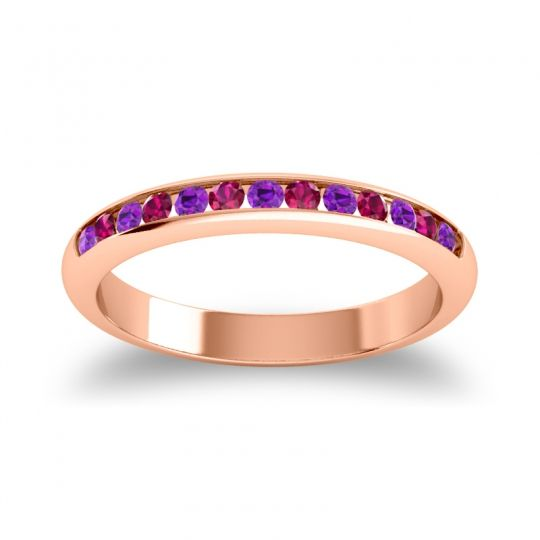 Half Eternity Ceda Amethyst Band with Ruby in 18K Rose Gold