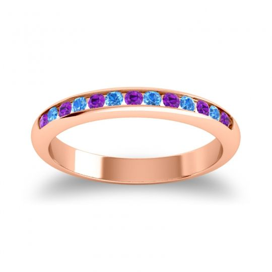 Half Eternity Ceda Amethyst Band with Swiss Blue Topaz in 14K Rose Gold