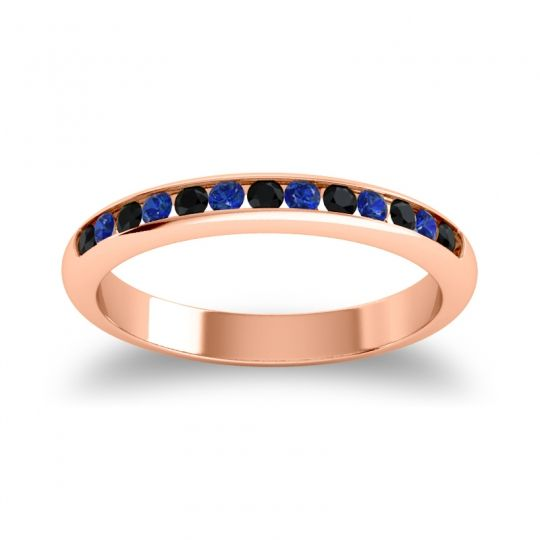 Half Eternity Ceda Black Onyx Band with Blue Sapphire in 18K Rose Gold